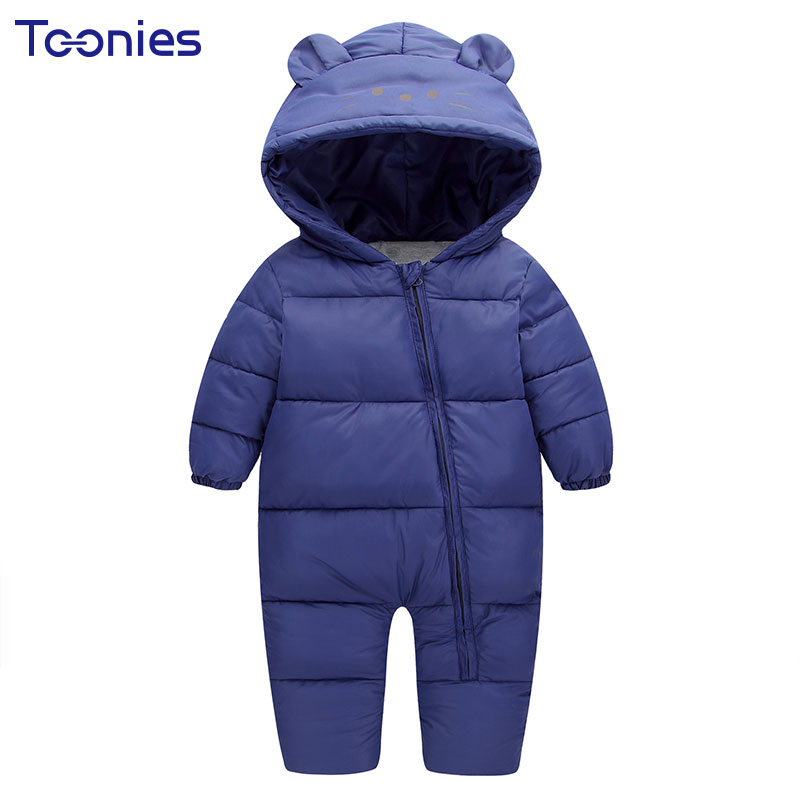 Winter Thick Boys Girls Rompers for Newborns Clothes Cartoon Ear Hooded Baby Onesie Romper Cotton Lining Zipper Infant Jumpsuit  6003 aosta betty baby rompers top quality cotton thickening clothes cute cartoon tiger onesie for baby lovely hooded baby winter
