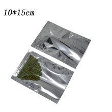 200pcs/lot 10*15cm Heat Seal Clear Mylar Package Plastic Pouch Flat Open Top Silver Aluminum Foil Poly Bag for Bulk Food Storage