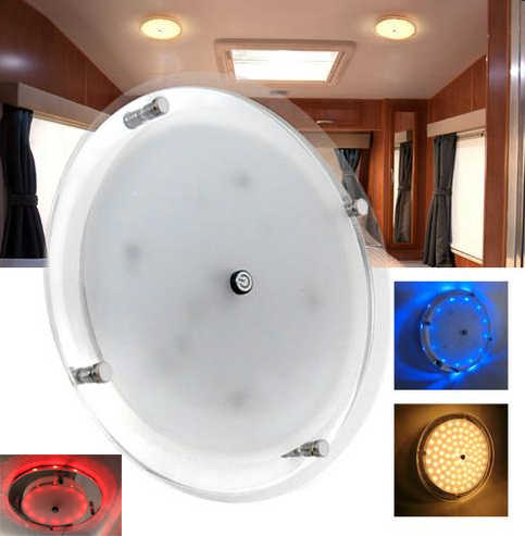 "8.5""/7""/ 5""/ 3.5"" LED Lamp 12 V DC LED Circular Crystal Roof Ceiling Light Caravan/RV/Car/Motorhome/Marine"