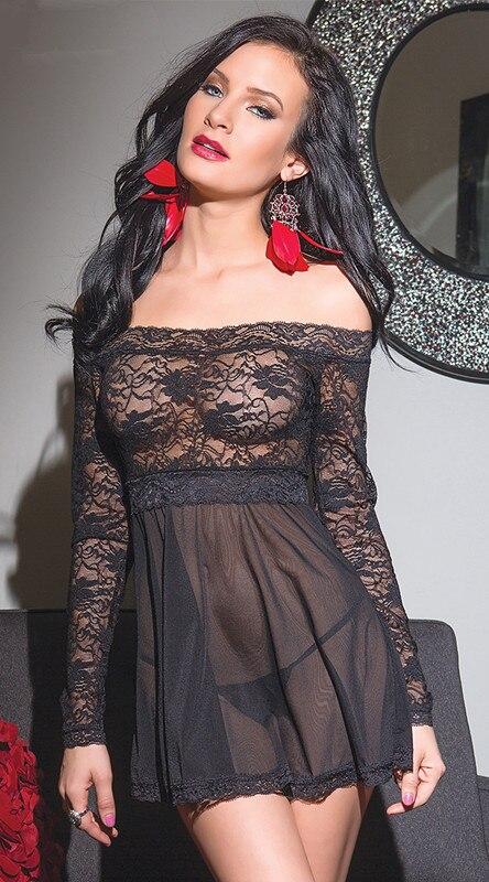 Black see through negligee