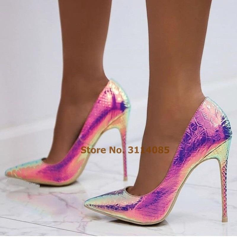 Women Fantastic Pink Blue Snakeskin Dress Pumps Multicolor Thin High Heels Shallow Python Gladiator Shoes Party Shoes Wedding basic pump
