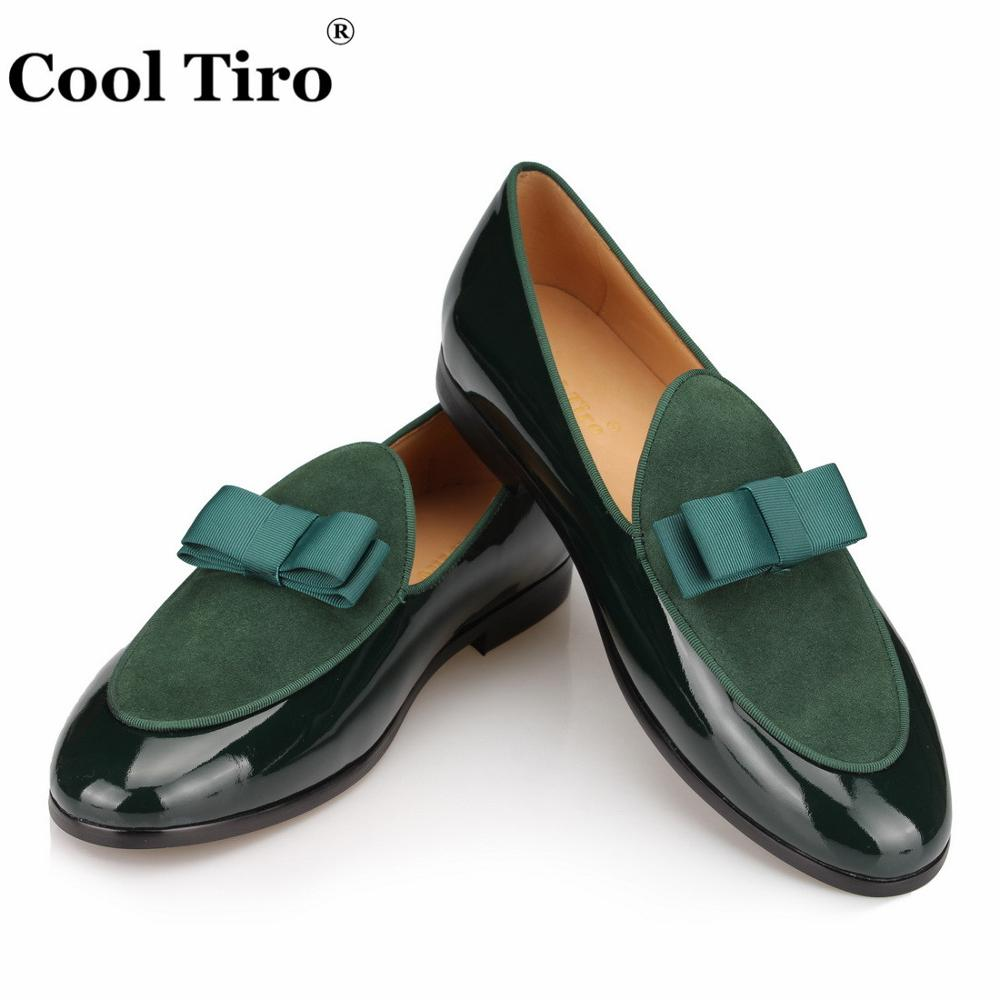 COOL TIRO Patent Leather Suede Loafers Men Moccasins Slip Slippers Bowknot  Wedding Dress Men s Flats Gentlemen Casual Shoes ddb16892f724