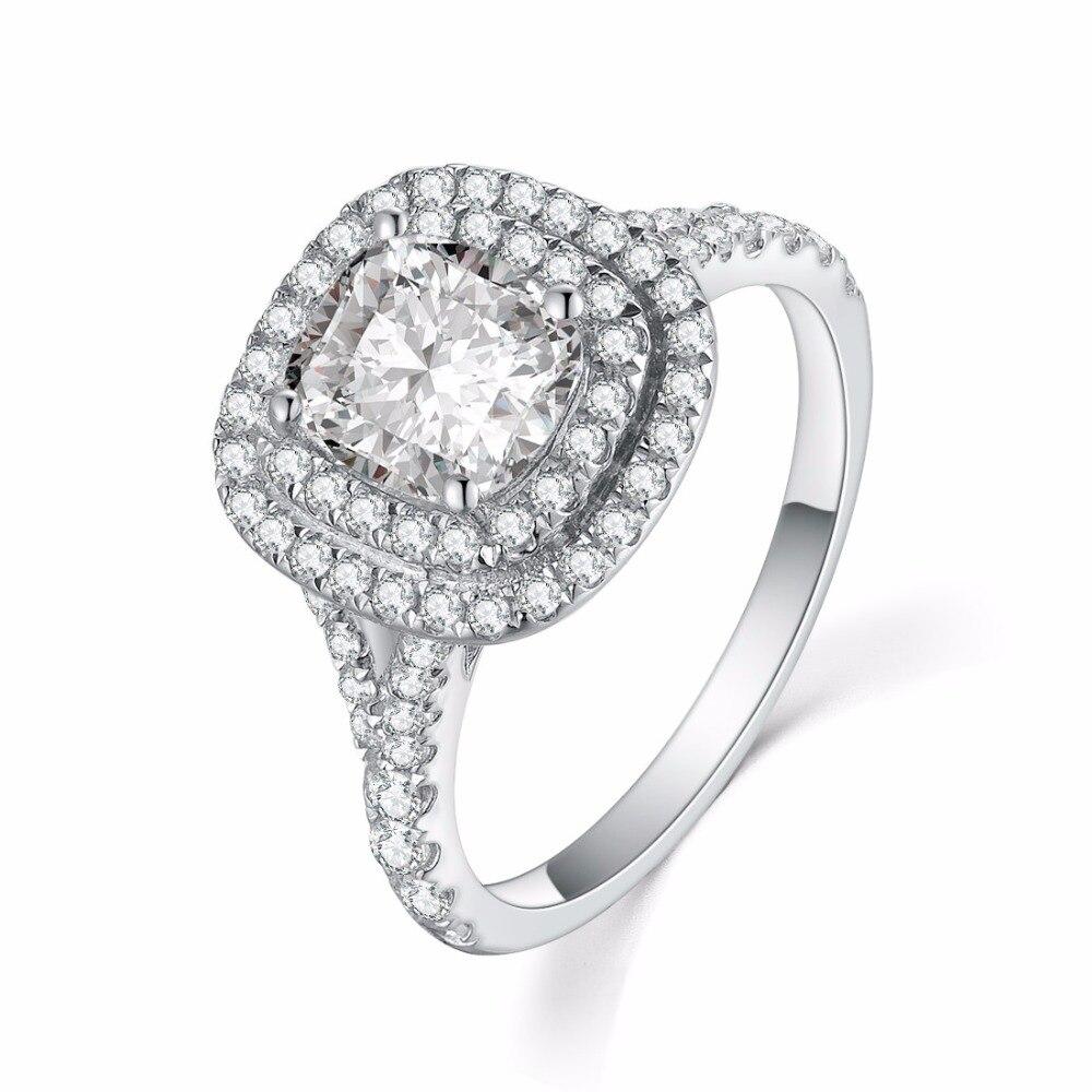 Hurtownie symulacja pierścionek z brylantem 925 2CT Sterling Silver luksusowe poduszki pierścionek zaręczynowy Platinum Plated kobiety T shirt marki Halo betonowa w Pierścionki od Biżuteria i akcesoria na  Grupa 1