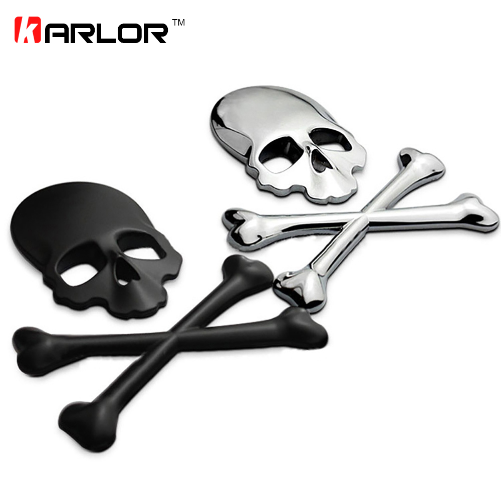 Silver 3D Skull Metal Skeleton Crossbones Car Sticker Label Skull Emblem Badge free shipping Стикер