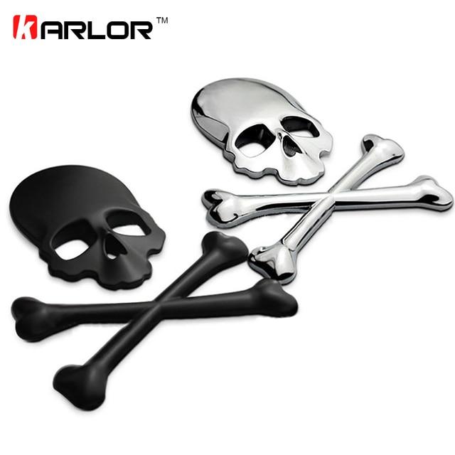 3D Schedel Metalen/ABS Skeleton Crossbones Auto Motorfiets Sticker Label Schedel Embleem Badge auto styling stickers decal accessoires