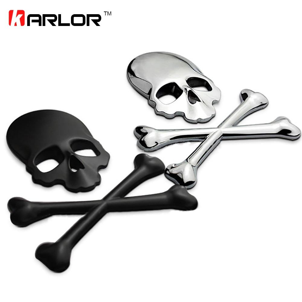 3D Skull Metal/ABS Skeleton Crossbones Car Motorcycle Sticker Label Skull Emblem Badge Car Styling Stickers Decal Accessories
