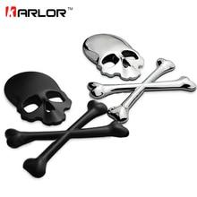 3D Skull Metal ABS Skeleton Crossbones Car Motorcycle Sticker Label Skull Emblem Badge car styling stickers