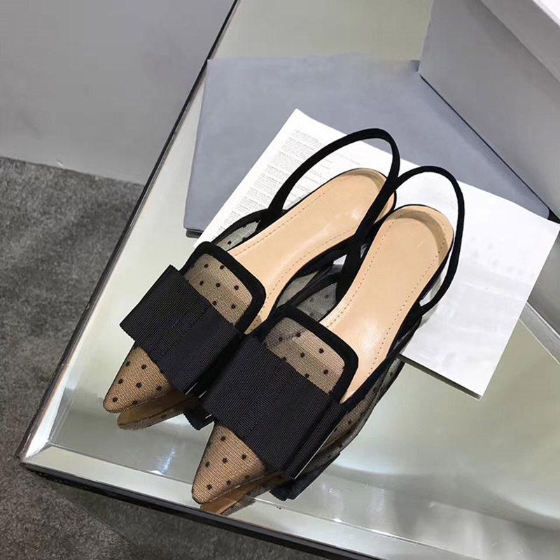 2018 Women Loafers Chaussures Femme Dot Mesh Women Casual Shoes Big Bow Pointy Toe Ballet Flats Woman Shoes Slingback Sandals blue sequin large size gold pointy ballerina sparkling women chinese wedding shoes flats bow party ballet 10 glitter loafers