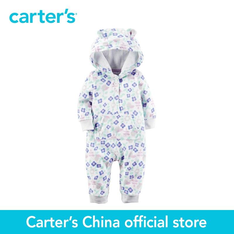 Carters/1 шт. для маленьких детей дети флис с капюшоном Цветочный комбинезон 118G631, продается из официального магазина Carter's в Китае
