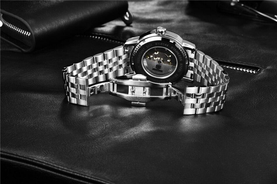 relógio de couro automático relógio de pulso
