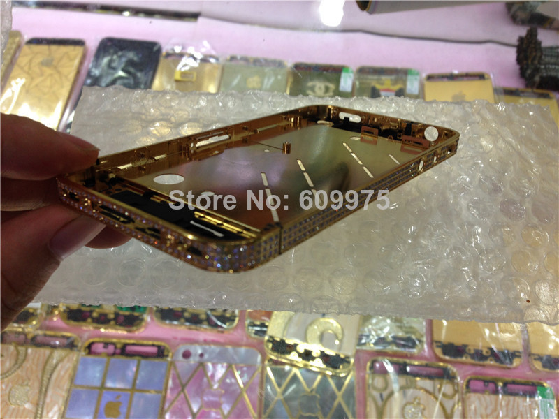 Middle-Frame-Housing GOLD Plating-Chassis iPhone Crystal Diamond for 4-gold/Middle-frame-plate/Diamond/Factory-supply