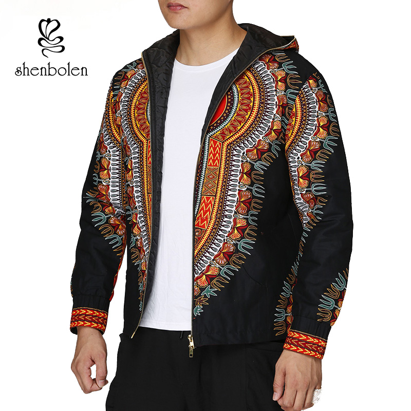Fashion Men Hoodies Cotton Autumn Winter Coat Long Sleeve African Black Dashiki Print Casual Zipper Hooded Sweatshirt Man Jacket