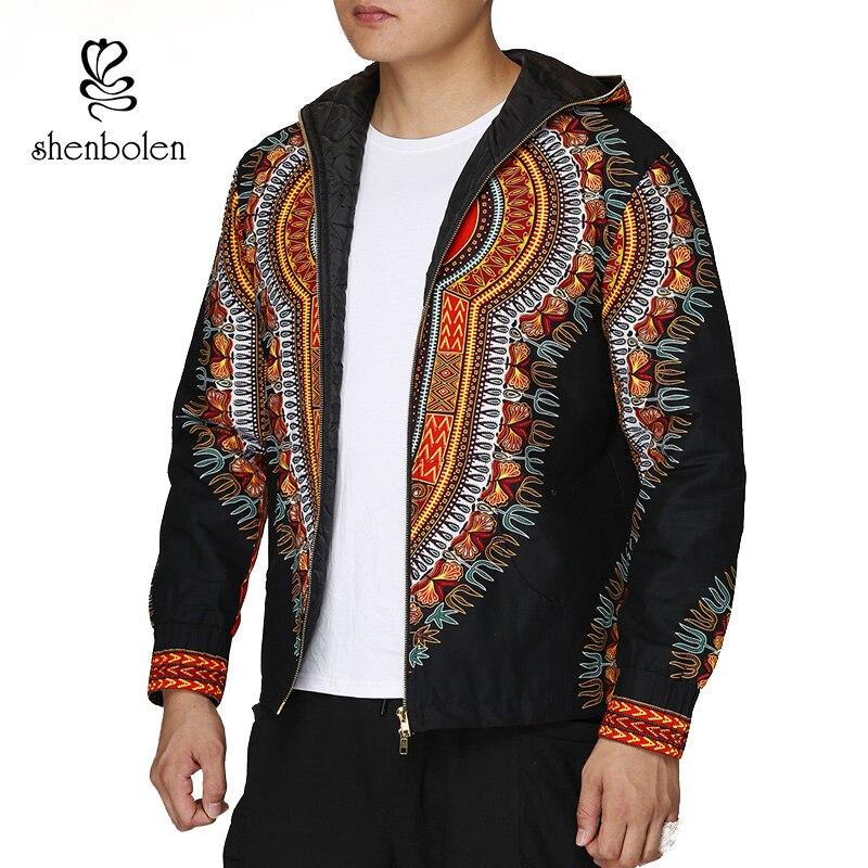 Fashion Men Hoodies Cotton Autumn Winter Coat Long Sleeve African Black Dashiki Print Casual Zipper Hooded Sweatshirt Man Jacket