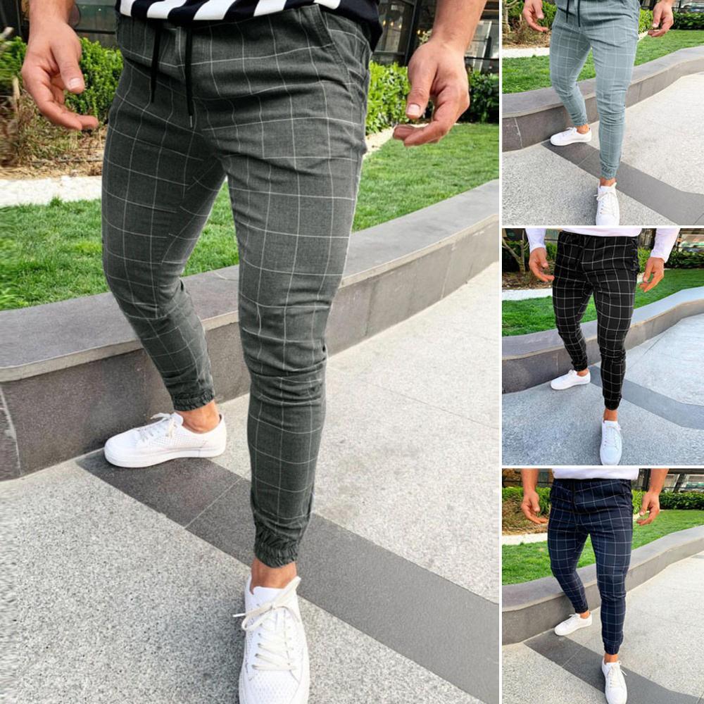 Fashion Men Casual Plaid Print Drawstring Elastic Waist Long Pants Trousers Spring Slim Fit Plus Size Men Black Clothing