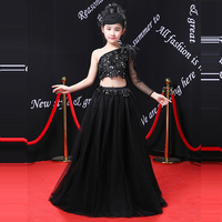Черное платье принцессы с одним плечом Платья с цветочным узором для девочек на свадьбу платье с бисером для девочек на день рождения AA245