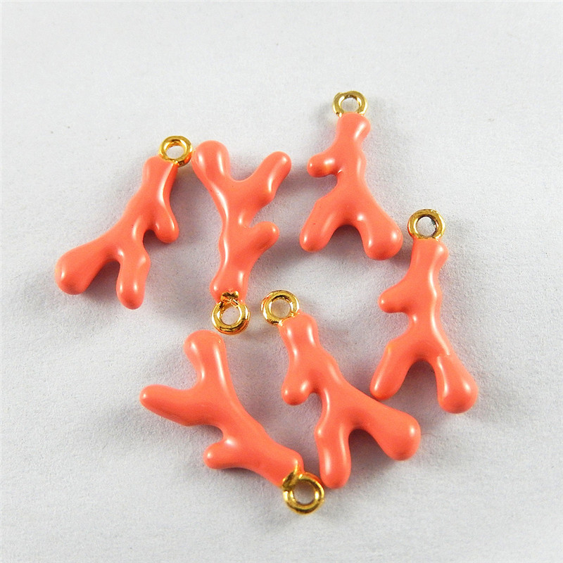 Julie Wang 10pcs Simulated Creative Styles Charms Alloy Drop  Orange Pendant Hanging Necklace Jewelry  Accessory 18*9*3mm