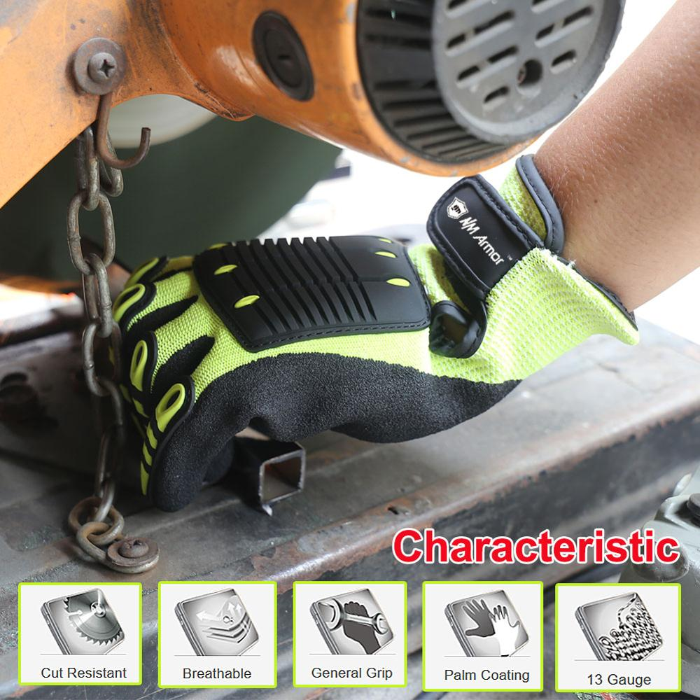 Sarung Tangan Kerja Tahan NMSafety Cut dan Anti-Getaran Cut level 5 Safety Shock Absorbing Safety Sarung Tangan Kerja Pelindung