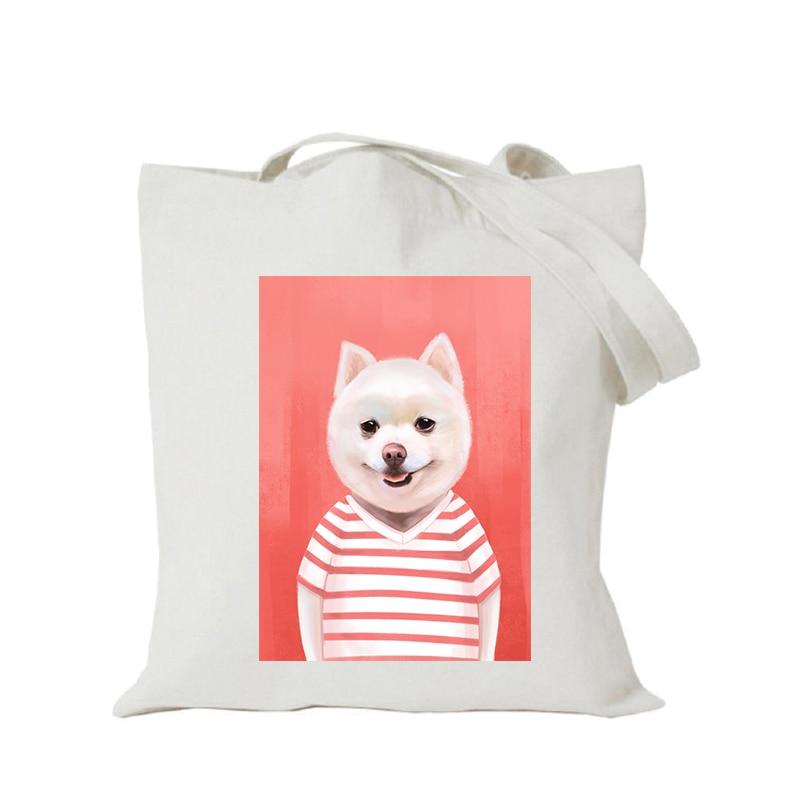 Origina kawaii canvas cartoon custom tote bag customize eco bags diy logo shopping bag with logo Dachshund Shepherd Dog Poodle (5)