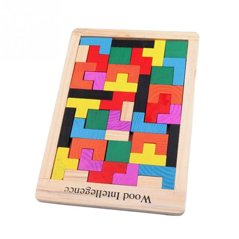 Divertente Giocattolo Educativo di Legno Building Blocks Formazione Immaginazione Colorful Tetris Periodo di Sviluppo Blocchi Giocattoli Regalo