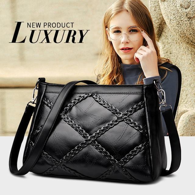 Women Plaid Large Capacity Tote Bags Black Handbag For Women Lace Pocket Plaid Female Shoulder Bag Chain Messenger Crossbody Bag