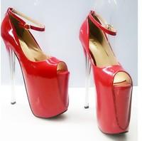 Spring & Summer New Women Pumps 19cm High Heels Peep Toe Women Wedding Shoes Buckle Nightclub Sexy Women Shoes Plus Size 35-43