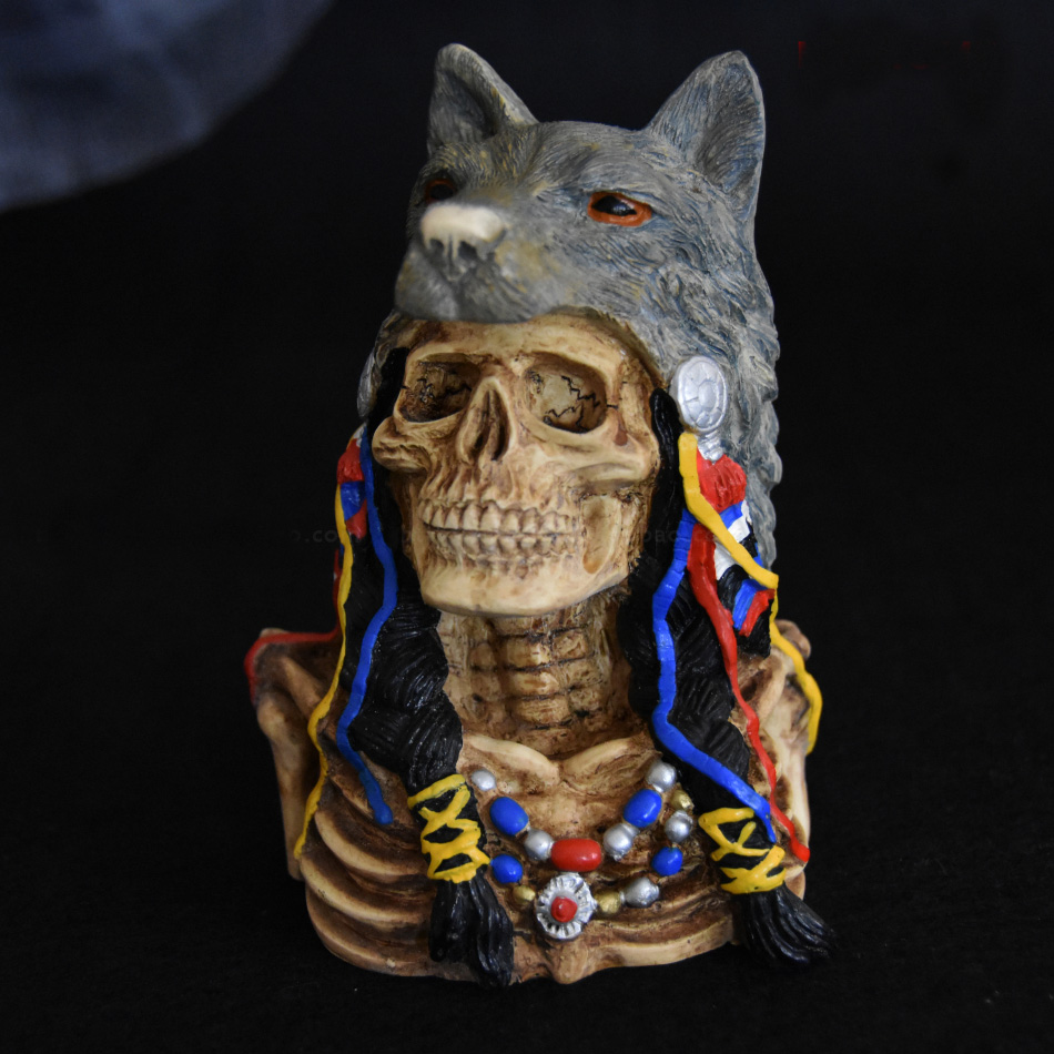 13.5CM -TOP COOL Artwork # HOME OFFICE ROOM CLUB BAR TOP decorative art Native American Indians Wolf Totem Skull sculpture art13.5CM -TOP COOL Artwork # HOME OFFICE ROOM CLUB BAR TOP decorative art Native American Indians Wolf Totem Skull sculpture art