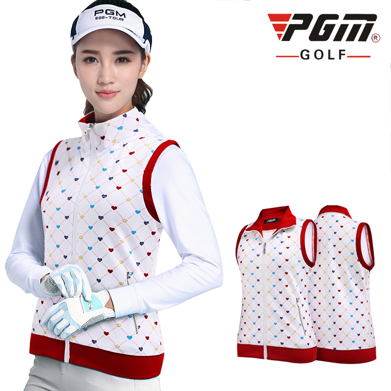 PGM Golf Waistcoat For Women Breathable Windproof Turn Down Collar Print Womans Sports Waistcoat Golf Clothing Free Shipping