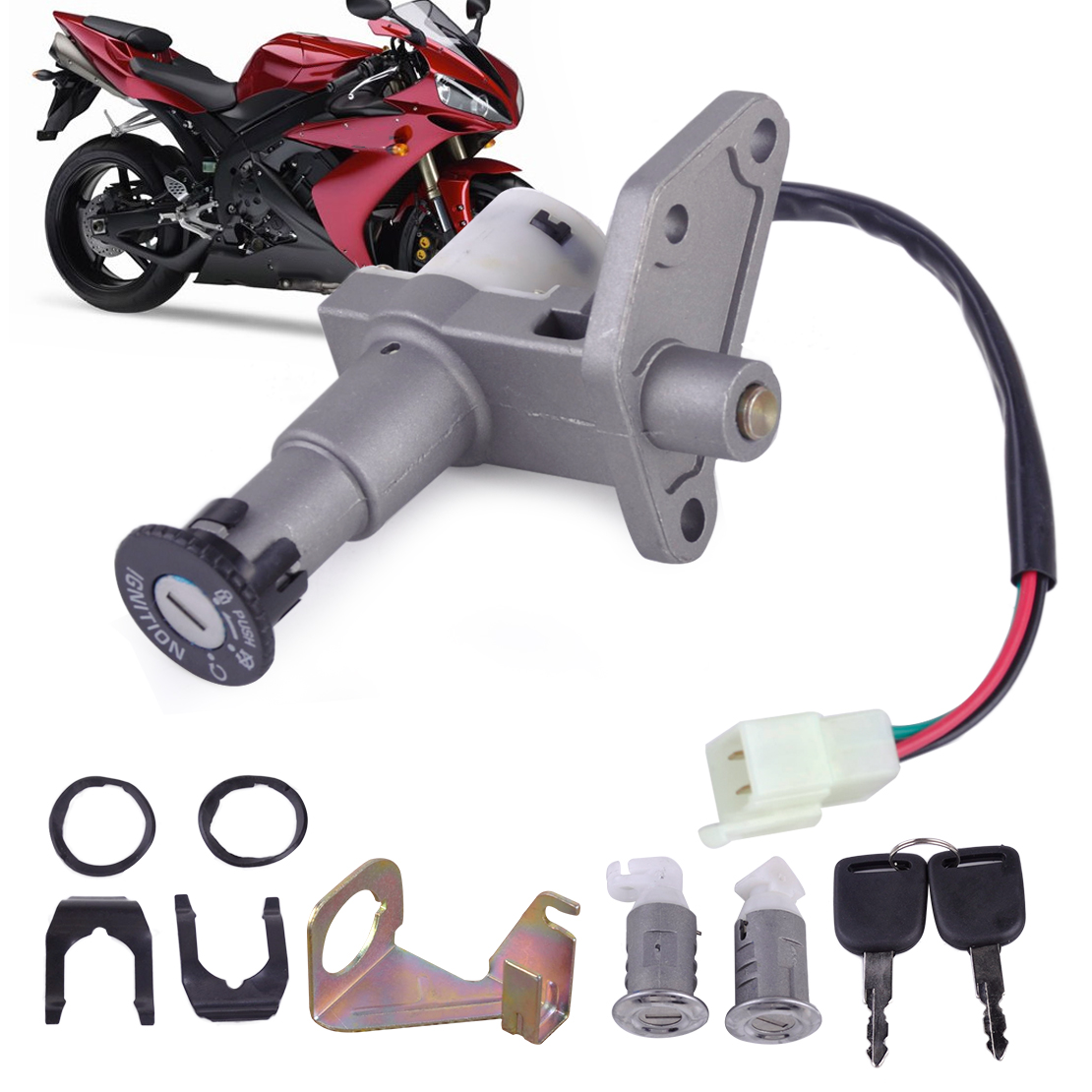 New Arrival High Quality Moped Scooter Ignition Key Switch Lock Toolbox Cushion Lock fit for 50-150cc GY6 Chinese Part 4 Wire