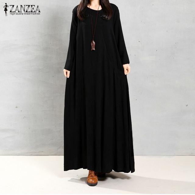 2017 outono zanzea mulheres retro longo maxi dress o pescoço manga comprida pockets casual soltas sólidos vestidos plus size vestidos