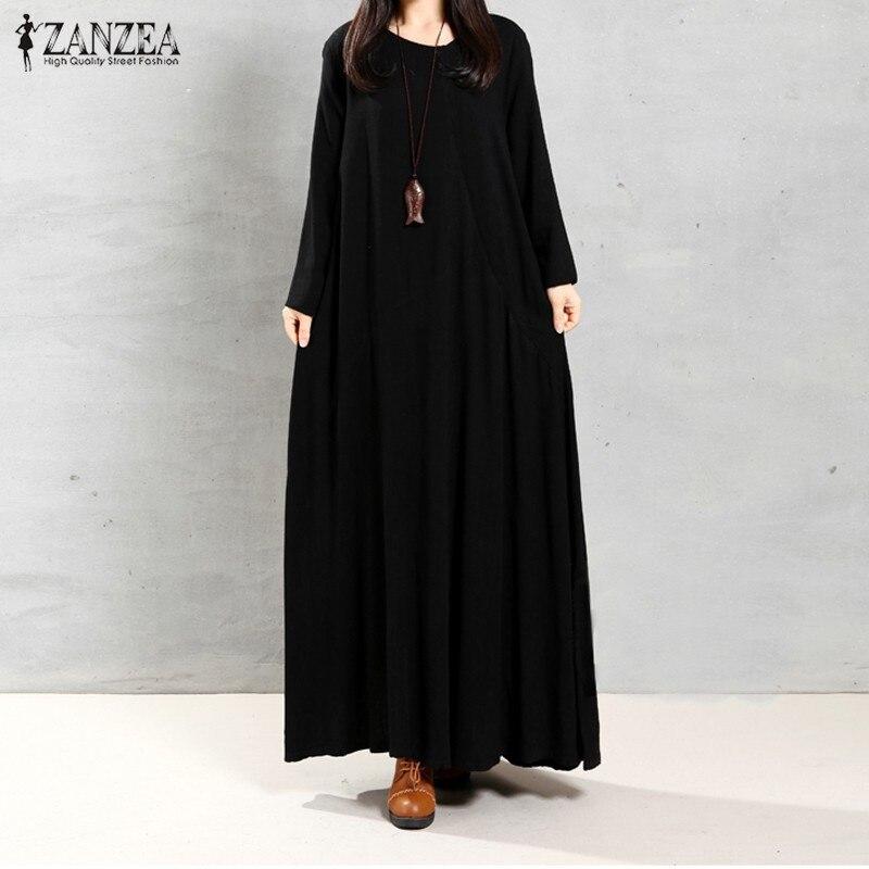 2018 Autumn ZANZEA Women Retro Maxi Long Dress O Neck Long Sleeve Pockets Casual Loose Solid Dresses Plus Size Vestidos