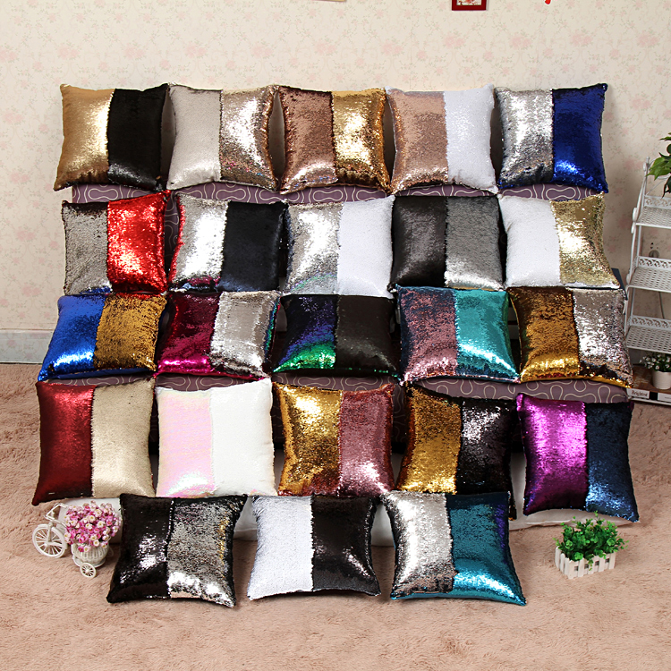 Sequin Mermaid Cushion Cover Single Side Pillow Magical Color Changing Glitter Throw Pillow Case Car Home Decorative Pillowcase