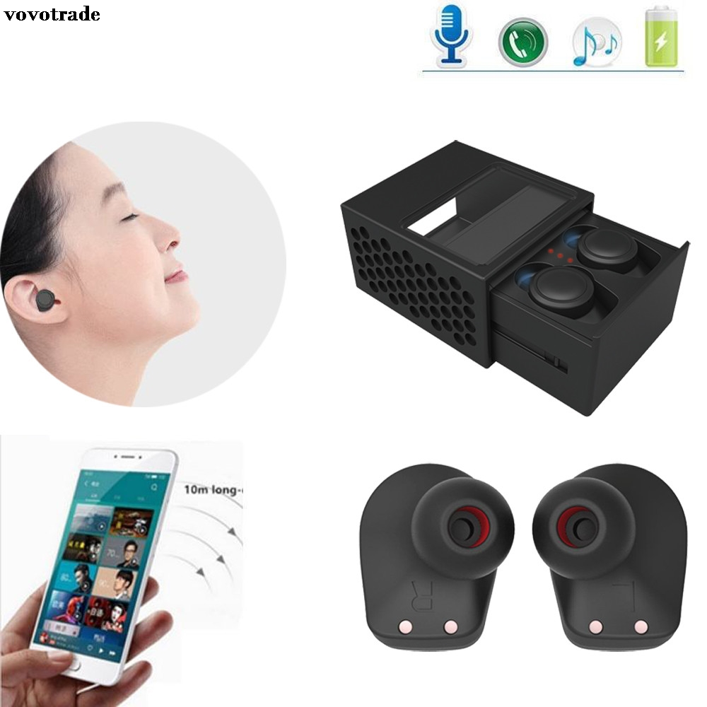 toopoot Mini TWS Twins Wireless Bluetooth Stereo Headphone Headset In-Ear Earphones Earbuds For Iphone PC Smartphone Mp3 Hifi portable wireless bluetooth earphone handsfree mini headset stereo earbuds usb docking car charger for iphone smartphone 2 in 1
