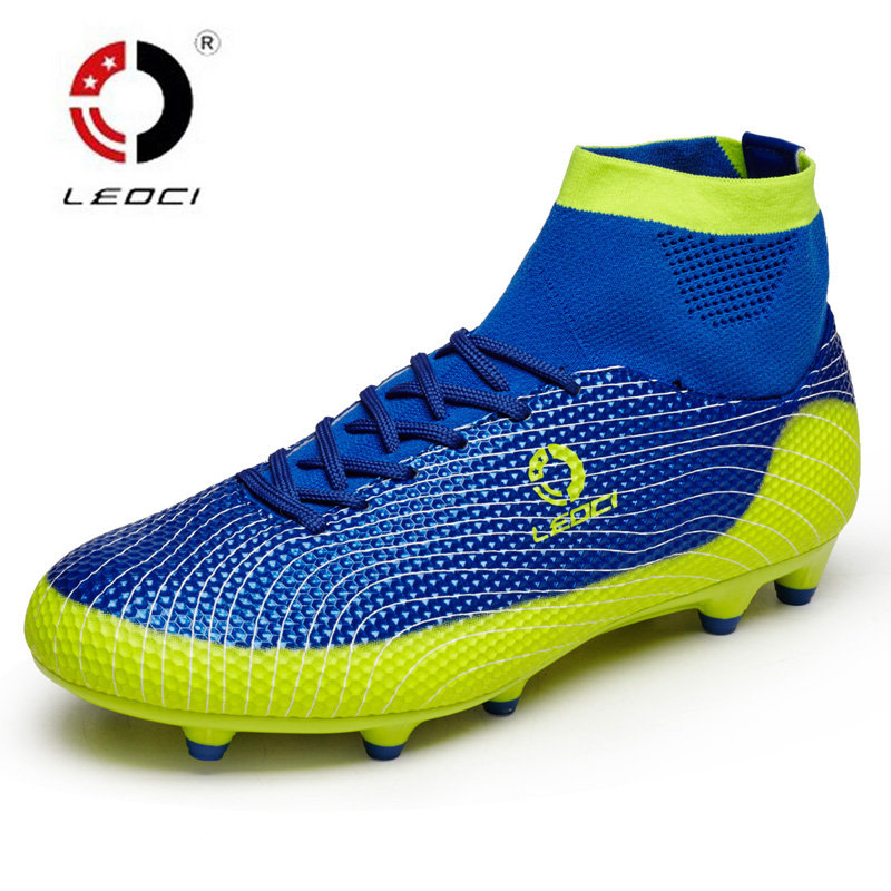 New Men Soccer Cleats For Adults Kids Turf Football Boots AG Football Shoes High Ankle Chuteira Futebol Brand Male Soccer Shoes