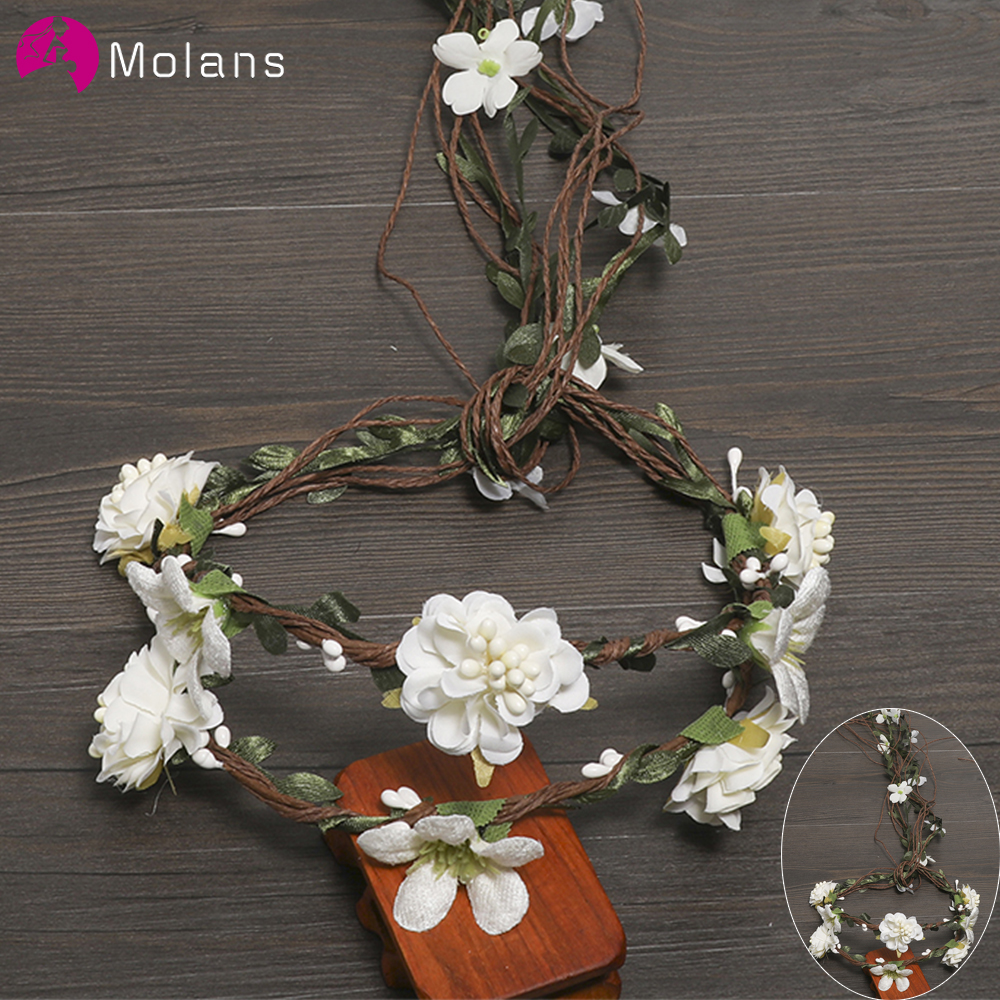 MOLANS Boho Exquisite Flower Crown Stimulation Leaves Rattan Floral Garland Headband For Bride Wedding Photography Accessories