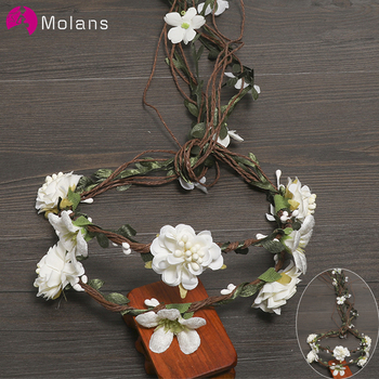 MOLANS Boho Exquisite Flower Crown Stimulation Leaves Rattan Floral Garland Headband for Bride Wedding Photography Accessories - sale item Wedding Accessories