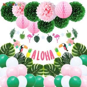 Nicro Luau Вечеринка Лето Тропический 1st 16th 18 21 30 40 день рождения Aloha Bunting гирлянды Гавайский пляж тема украшения # Set121