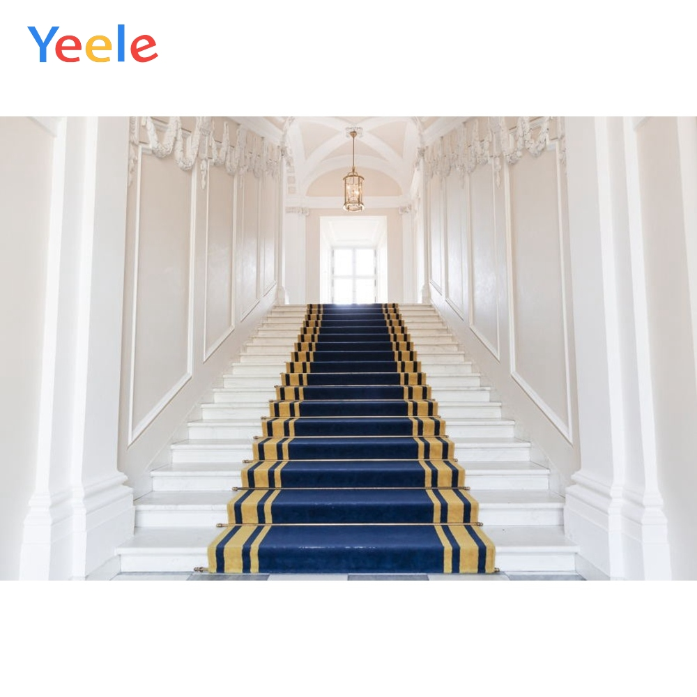 Yeele Vinyl White Palace Stairs Blue Carpet Wedding Photocall Photography Background Love Photographic Backdrop Photo Studio