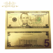 Best price For Colorful USA Gold Banknotes 5 Dollars Banknote in 24k Plated Replica Money Collection