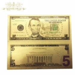 Лучшая цена для Красочные США золотых банкнот 5 долларов банкнот в центре сообщений в течение 24k позолоченный копия денег для коллекции