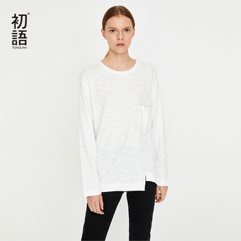 Toyouth New White Loose Long Sleeve camisetas para Mujer Korean Basic All Match Tees O-Neck Casual Tee Haut Mujer Camiseta Mujer