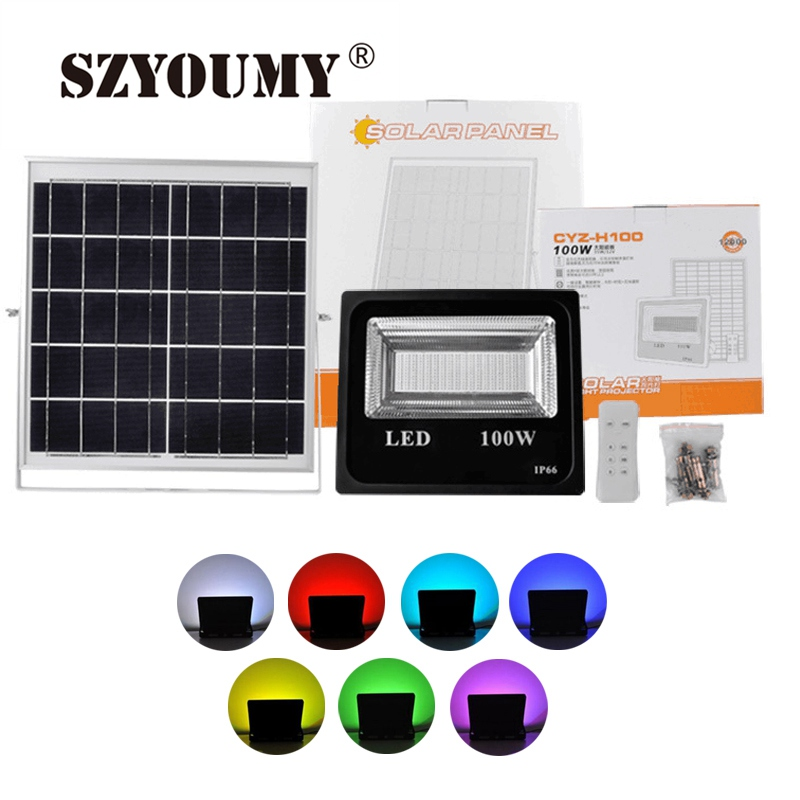 SZYOUMY 100W LED Solar Flood Light White/Dual Color /RGB Outdoor Floodlights Garden Wall Solar Powered LED  Remote Controller