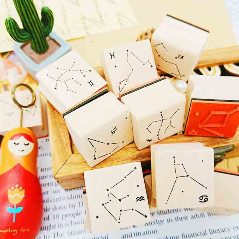 1 Pcs Novelty Twelve Constellations Wooden Rubber Stamps For Scrapbooking Stationery DIY Scrapbooking Wooden Stamp