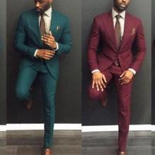 Пользовательские Темно-зеленый темно-красный Slim Fit Лучшие Мужские костюмы Свадебные официальные костюмы для торжественных случаев