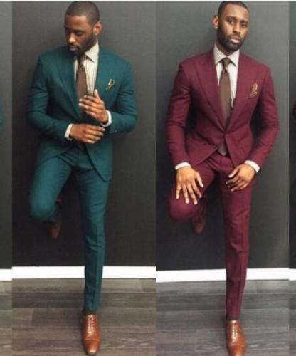 Custom Dark Green Dark Red Slim Fit Best Man Suits Wedding Formal Occasion Suits
