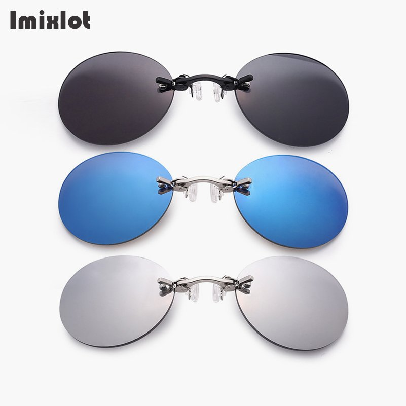 Imixlot Clip On Nose Sunglasses Men Vintage Mini Round Sun Glasses Hacker Empire Matrix Morpheus Rimless Sunglasses