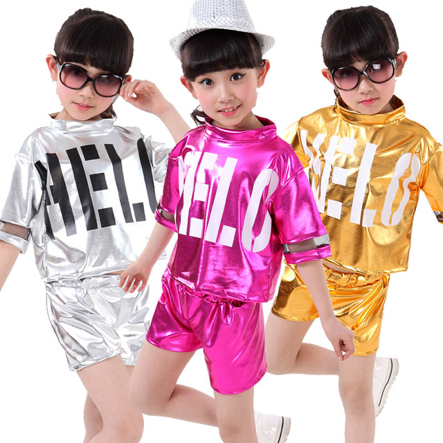 b59879622 5pcs/lot Free Shipping Children Boys Girl Dance Wear Jazz Hip Hop Hiphop  Costume Kids Stage Competition Ballroom Dancing Clothes