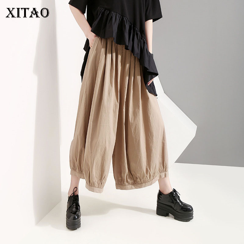 [XITAO] 2019 Summer Korea Fashion New Solid Color   Wide     Leg     Pants   Female Elastic Waisted Pleated Ankle-length   Pants   ZLL3865