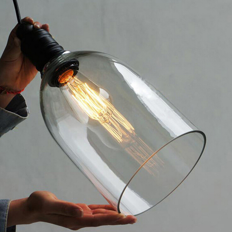 Luzes pingente de ferro do vintage de vidro branco pendurado sino pingente lâmpada E27 110 V 220 V para sala de jantar decoração de casa planetário HM41 - 5
