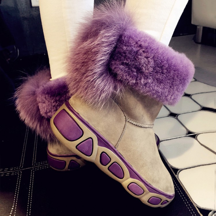 2015 New Arrival Women Winter Wedges Chunky Heel Genuine Leather Round Toe Fur Fashion Warm Ankle Snow Boots Size 34-39 SXQ0818 women autumn winter genuine leather thick mid heel side zipper round toe 2015 new fashion ankle boots size 34 39 sxq0905