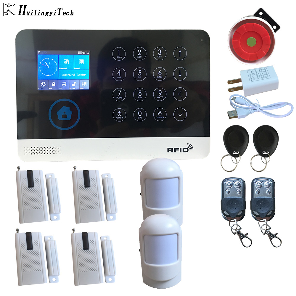 WIFI GSM <font><b>Wireless</b></font> Home Business <font><b>Burglar</b></font> Security <font><b>Alarm</b></font> <font><b>System</b></font> APP Control Siren RFID Motion Detector PIR Smoke Sensors image